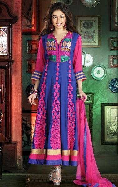 Picture of Tantalizing Blue and Pink Wedding Salwar Kameez Online Shopping