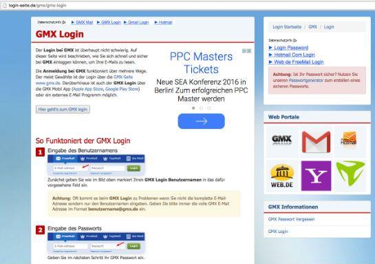Schritt für Schritt erklärt login-seite.de, wie man sich zum Beispiel in das Postfach bei GMX einloggt.