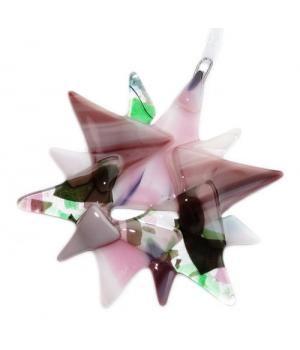 Handgemaakte kerst ster van divers roze,paars en groen glas! Unieke glazen kerstversiering!