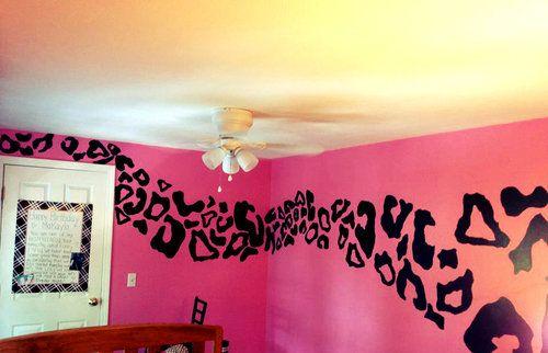 pink and black room decor | cheetah cheetah walls teenage bedrooms pink and black bedroom cheetah ...