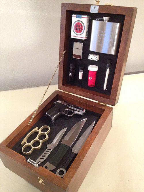 Basic equipment in a repurposed shinebox. Gift idea.