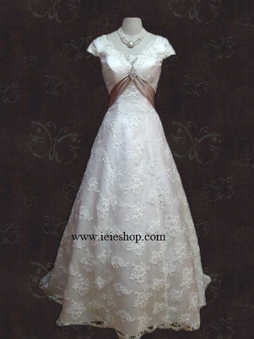 Graceful Empire Cap Short Sleeves A-line Princess Lace Wedding Dress  Grace