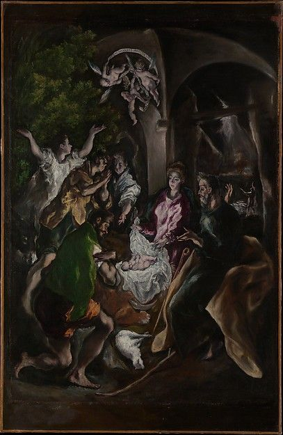 """The Adoration of the Shepherds by El Greco (Domenikos Theotokopoulos)(Greek, Iráklion (Candia), dated 1605-1610...part of the exhibition """"El Greco in New York"""""""