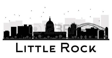 Little Rock City horizonte negro y blanco de la silueta. Ilustración del vector. concepto de plano simple para la presentación turismo, bandera, cartel o página web. el concepto de viaje de negocios. Paisaje urbano con puntos de referencia