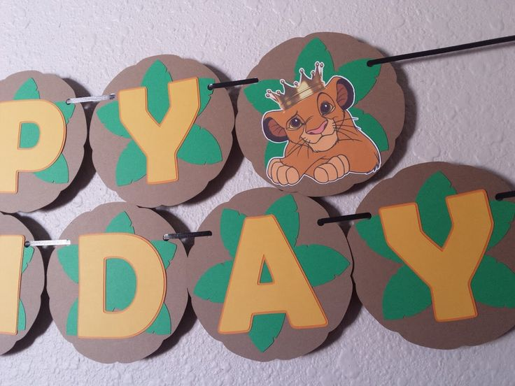 Lion King Happy Birthday Banner, Simba Birthday Banner, Lion King Party, The Lion King, Simba, Disney, Lion King Birthday Banner by NettiesCraftyCorner on Etsy https://www.etsy.com/listing/259078369/lion-king-happy-birthday-banner-simba