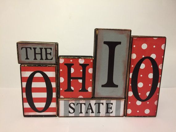 Ohio State Sign Word Blocks Wooden Block by GuidingPrintables