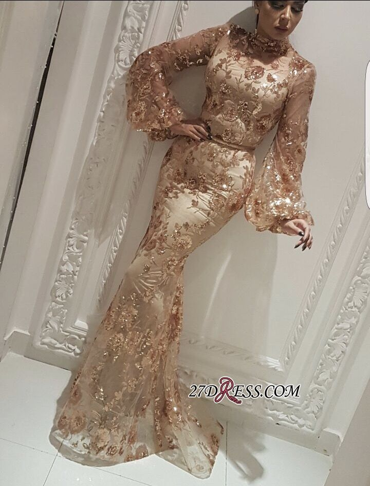f210b944634 Modest High Neck Long Sleeves Evening Gowns 2019 Mermaid Sequins Appliques Prom  Dress On Sale Item Code  YJD013  Ad  Evening
