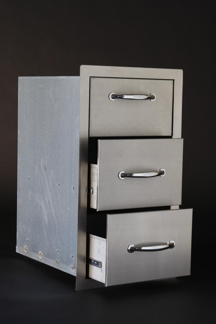 Three deep sturdy drawers on heavy duty rollers. BBQ Kitchens : BKDT