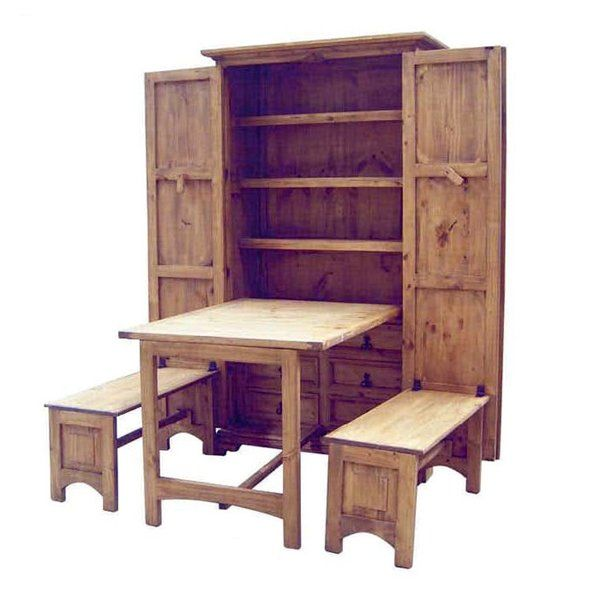 """""""Cowboy Kitchen"""" - would be great for a tiny home or vacation home. Benches and take fold up and out of the way when not wanted."""