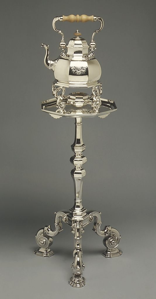 Tea Kettle on Tripod Table-Stand  Simon Pantin I  (English, Rouen ca. 1680–1728 London)    Date:      1724–1725  Culture:      English (London)  Medium:      Silver, wood