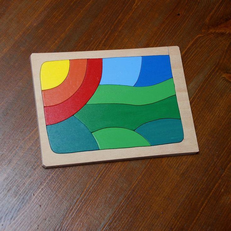 Západ+slunce+v+krajině+Krásně+barevná+skládanka-puzzle+vyřezaná+z+překližky+pomocí+níž+se+učíme+barvy.+Rozměry+desky+20x15+cm,+namalováno+akrylovými+barvami,+přelakováno.Doporučeno+od+tří+let.