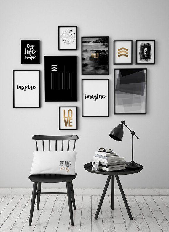 Mettre Un Peu D Amour Sur Votre Mur Artfilesvicky Etsy Com Les 10 Tirages Sont Les Suivantes 5 Ti In 2020 White Wall Art Poster Wall Art Black And White Wall Art
