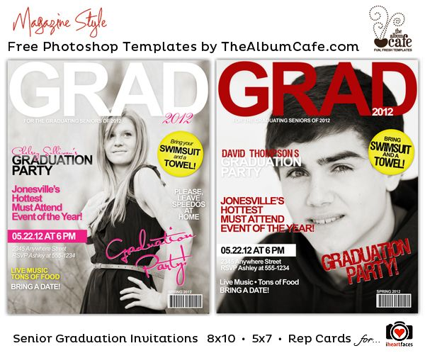 Magazine Party Invitation. Free Photoshop Templates for Graduation by The Album Cafe for iheartfaces.com