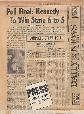 JOHN F. KENNEDY WINS NY PRESIDENTIAL ELECTION RESULTS 1960 SCRAPBOOK NEWS PAGE