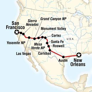 Map of Road Trip von New Orleans nach San Francisco