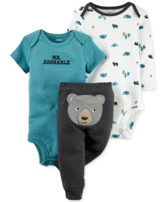 Featuring an adorable camping theme, this three-piece set by Carter's includes two bodysuits and a pair of comfy pull-on pants. | Bodysuits and pants: cotton | Machine washable | Imported | Short-slee