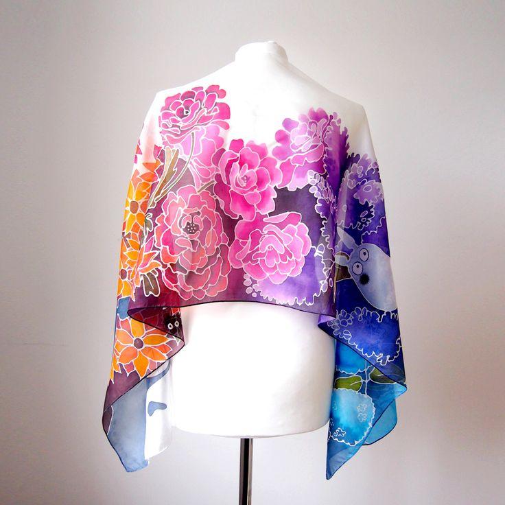 Flowery back of Totoro silk scarves, hand painted by Luiza Malinowska #minkulul