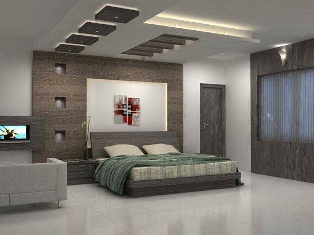 chambre à coucher avec plafond déco