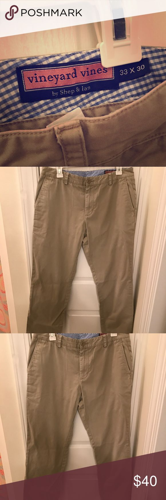 Vineyard vines men's khaki pants worn once 33x30 Men's vineyard vines khakis size 33x30 worn once great condition! Pockets in front and back Vineyard Vines Pants Chinos & Khakis