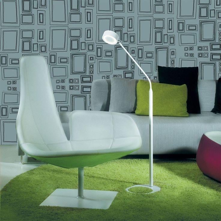 Omnia - osvětlení lakované bílé / floor lamp and armchair in retro style