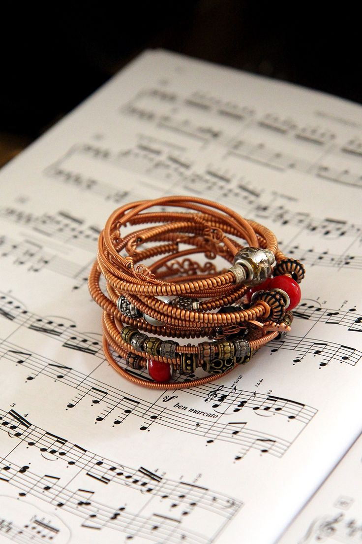 Recycled guitar string jewelry - Copper Bracelets Made From Recycled Piano Bass Strings