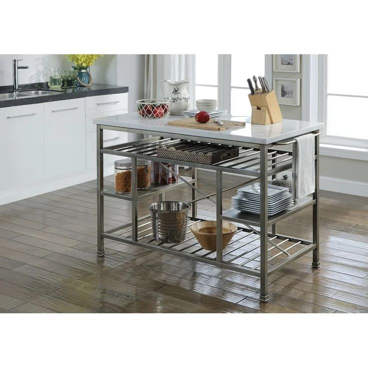 Deen Marble Prep Table Marble Top Kitchen Island Marble Kitchen Island Metal Kitchen Island