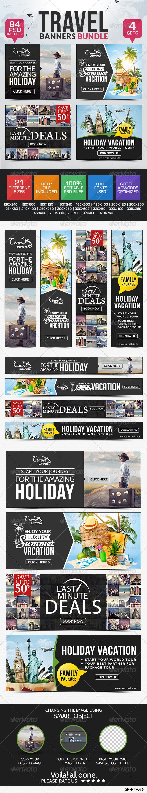 Travel Banner Sets Bundle - 4 Sets Template PSD | Buy and Download…