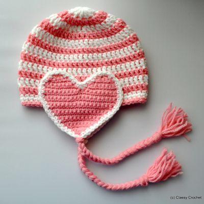Free Pattern: Crochet Valentine Heart Earflap Hat   Classy Crochet