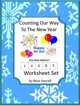 Counting Our Way To The New Year-P-K, K, Special Education, Autism. This packet contains 19 worksheets  using New Year's party hats, fireworks, balloons, confetti, noisemakers and horns. All things needed for a fun New Year's party. Some have the student drawing lines to the right math answer, circling the right answer on others and cut and paste the right math answer on some. All provide the practice the students need to sharpen their math skills as they celebrate the New Year.