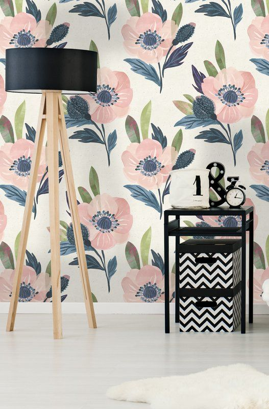 Trevon Watercolor Floral 4 17 L X 25 W Peel And Stick Wallpaper