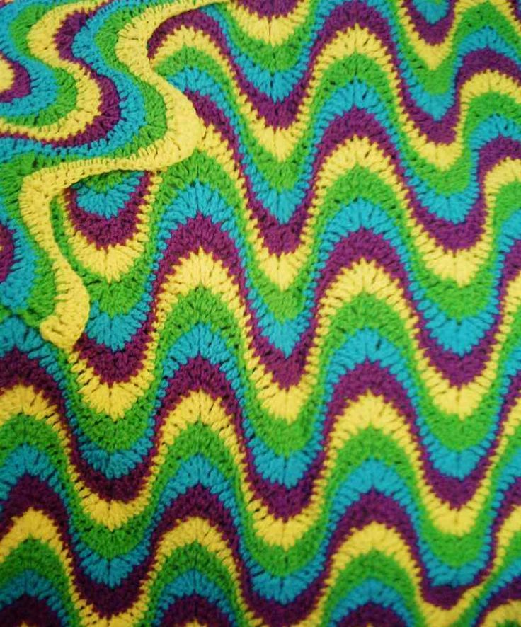 Crochet Pattern S PDF File for Multi-Colored, Exaggerated Ripple Afghan