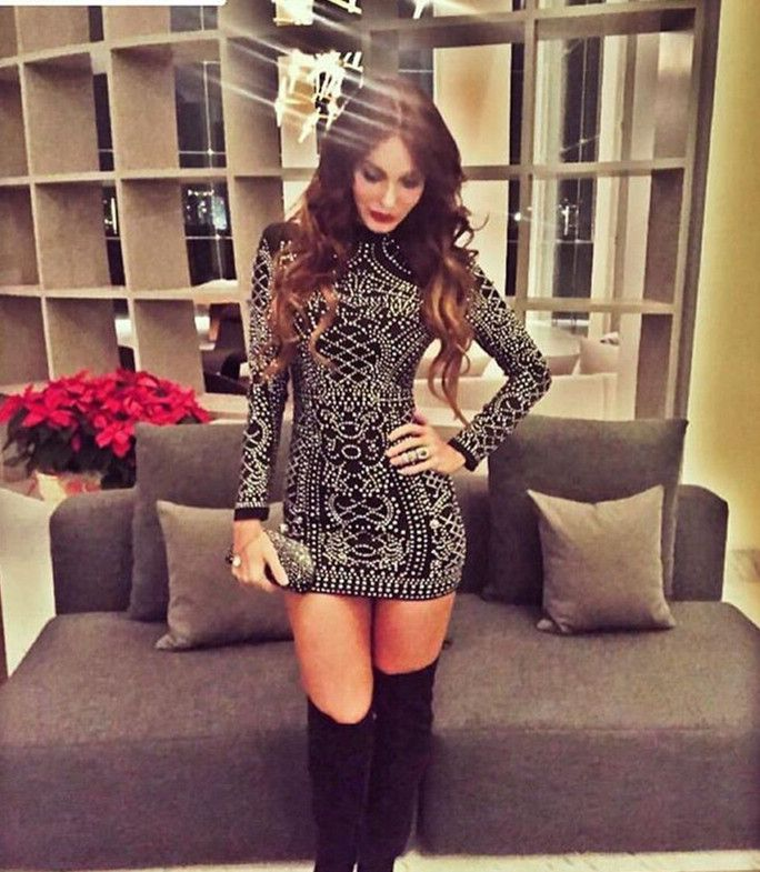 $49.99 Studded Long Sleeves Dress