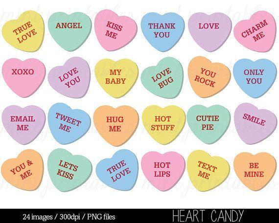 Etsy Heart Clipart Heart Candy Clip Art Sweethearts Candy Clipart Conversation Hearts Clipart Commercial Perso Clipart Sussigkeiten Zitate Clipart Herz