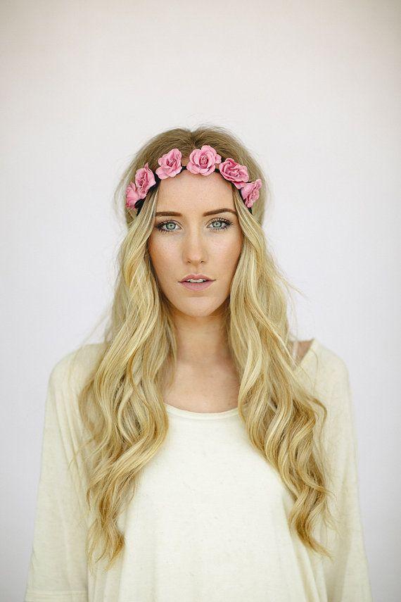 Bohemian Flower Crown Headband Bridesmaid Rose Hair Piece Bridal Party Boho Flower Mauve Pink Head Band Stretchy Wedding Bridesmaids Hair