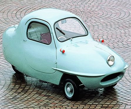 (2011-06) Fujicabin Minicar from 1955. This cutie reminds me of the newer Smart cars. Love the soft aqua color though. You don't see that on modern cars.