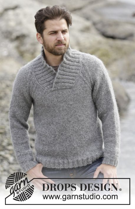 """Aberdeen - Knitted DROPS men's jumper with raglan and shawl collar in """"Air"""". Size: S - XXXL. - Free pattern by DROPS Design"""