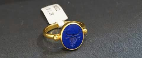 22 k gold ring with Lapis Lazuli. Handcarved Minotauros from Knossos Crete..For more information contact Lapis store Chania Crete.