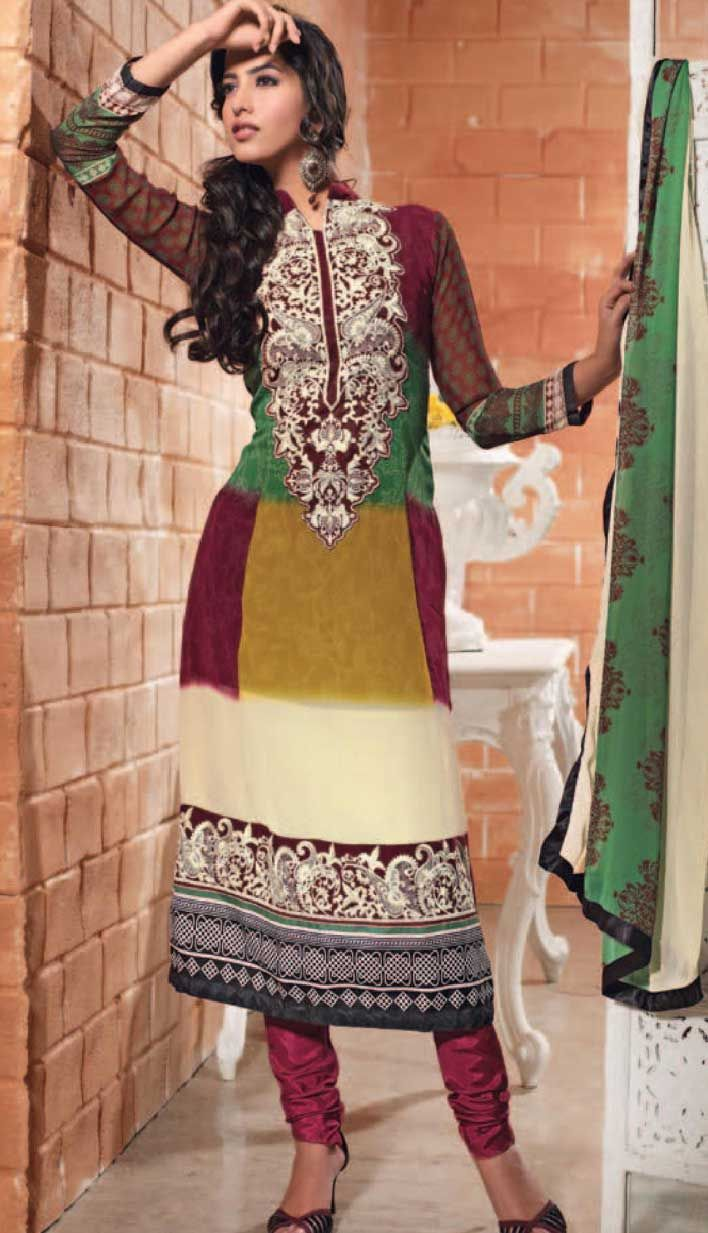 Get Latest Fashionable #Cream Georgette Churidar #CasualWearSuit Online.  #Price INR-  3191 Link-  http://alturl.com/5qvit