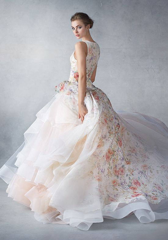 Lazaro 3613 / wedding gown  / bold bridal / spring florals / Sherbet silk organza floral printed ball gown, jewel neckline, dropped waist, side gathered pickup skirt layered tulle trimmed with horsehair, chapel train