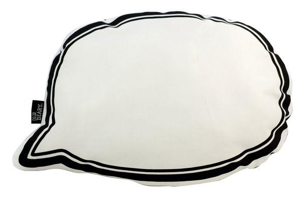 Speech Bubble Softie Cushion Black   Designed by Dear Diary   Krinkle Gifts