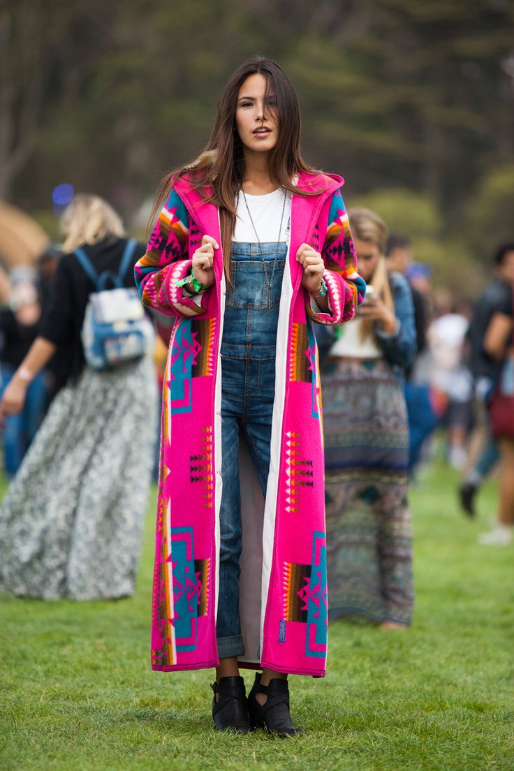 30+ Stylish Folks Spotted At Outside Lands #refinery29  http://www.refinery29.com/outside-lands-street-style#slide14  A vision in pink Pendelton. Jasmyne Sawson takes a walk on the bright side in her vintage coat and overalls by Burlington Coat Factory.