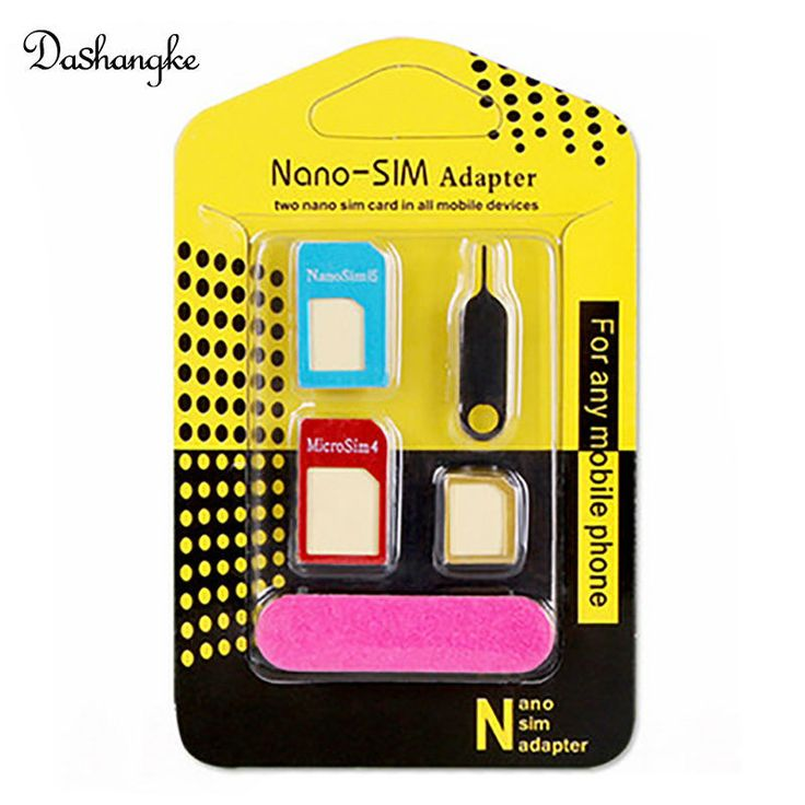Nano SIM Card Adapters 5 in 1 Nano Sim + Regular & Micro Sim + Standard SIM Card & Tools for iPhone 4 4S 5 5S 6 6S