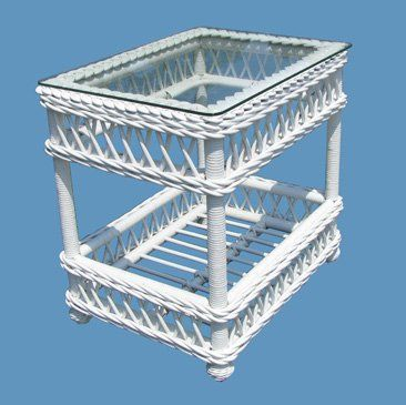 Bar Harbor Wicker End Table admired by our rattan furniture designers.