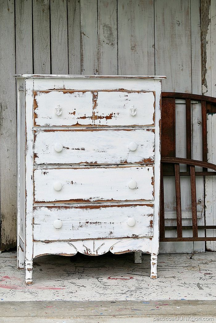 shabby chic coastal furniture project. Dare to distress white paint. Distressing paint adds character and depth to the furniture. I used an electric sander and the complete tutorial includes before and after photos with a video.