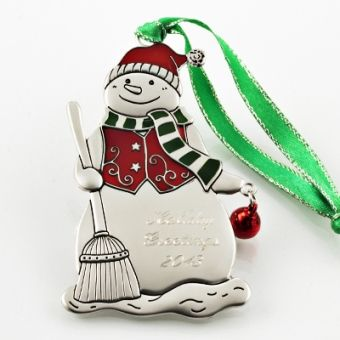 Festive #Snowman #Ornament   Our metal ornaments make a whimsical addition to any family tree! This festive snowman is accented in red and green. Be sure to personalize for that one of kind gift this season. #Christmas #ChristmasOrnament @thingsengraved