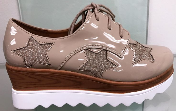 Cora-A3 Women Creeper Oxford Wedge Platform Star Lace Up Shoe Patent Shinny Nude