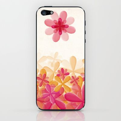 Pattern Pink Flowers iPhone & iPod Skin by Zuriñe Aguirre Illustration - $15.00