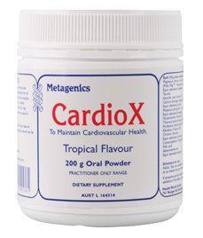 Metagenics Cardiox Powder One scoop (8.0 g) contains: Magnesium amino acid chelate (Meta Mag® - Magnesium bisglycinate)  3.0 g Equiv. magnesium  300 mg Taurine  3.0 g Calcium amino acid chelate  300 mg Equivalent Calcium  60 mg Pyridoxal 5-phosphate (Vitamin B6)  25 mg Riboflavin sodium phosphate  2.5 mg Equiv. Riboflavin (Vitamin B2)  2.0 mg Chromic chloride  513 μg Equiv. Chromium  100 μg Cyanocobalamin (Vitamin B12)  200 μg Calcium folinate   162 μg Equiv. Folinic acid  150 μg.....
