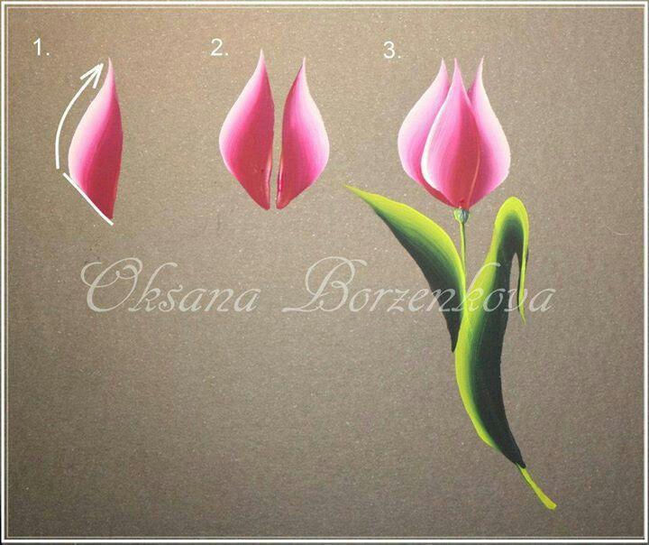 one stroke tulip                                                                                                                                                                                 Más
