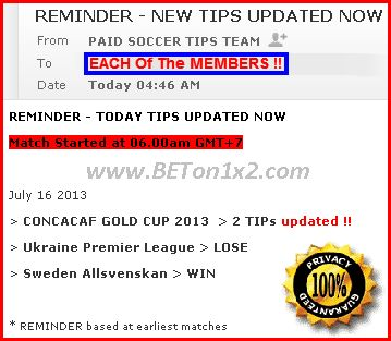 EMAIL REMINDER for MEMBERS to GET Updated Soccer Tips